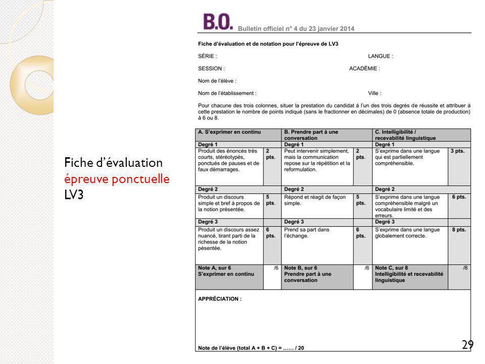 Fiche d'évaluation épreuve ponctuelle LV3
