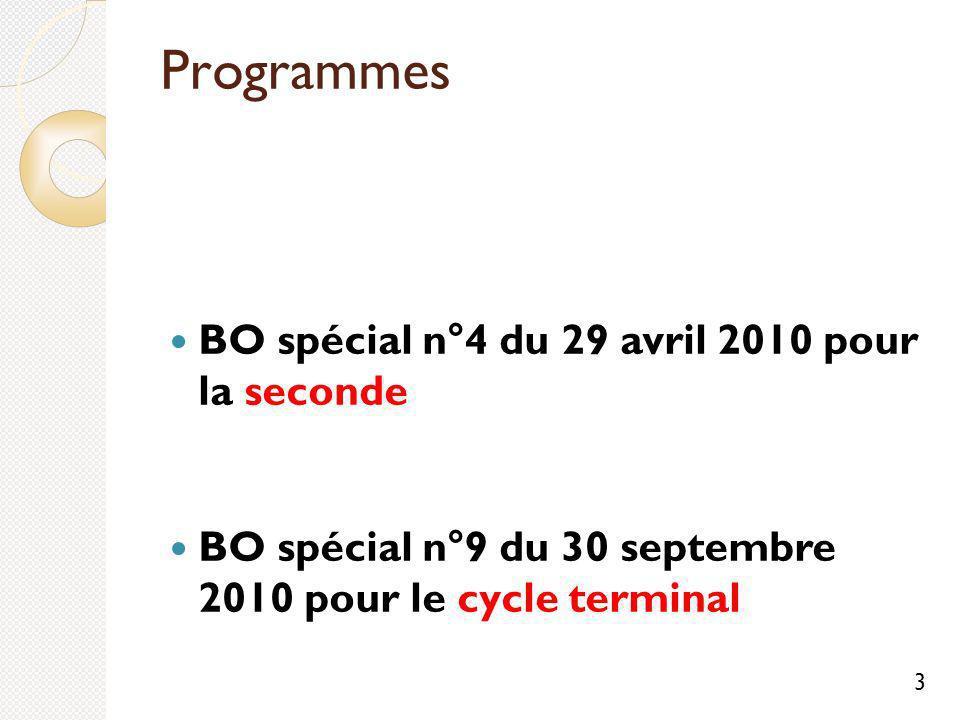 Programmes BO spécial n°4 du 29 avril 2010 pour la seconde