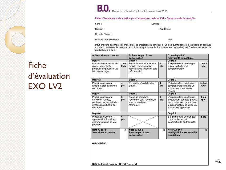 Fiche d'évaluation EXO LV2
