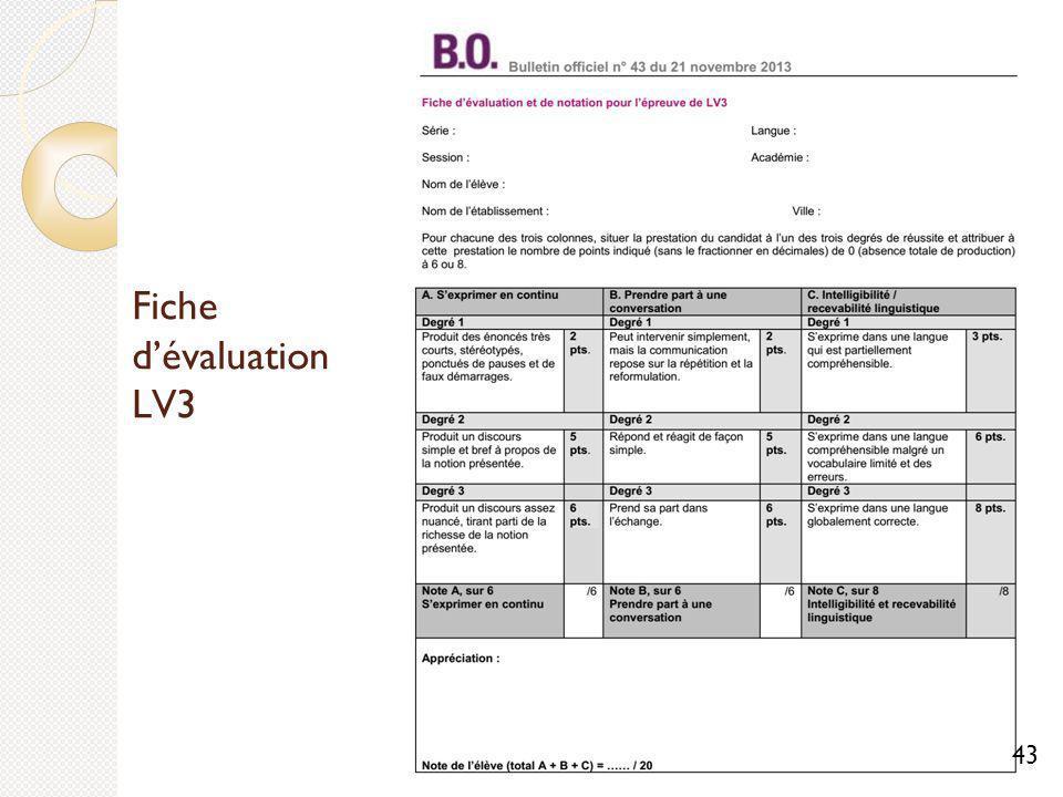 Fiche d'évaluation LV3 43