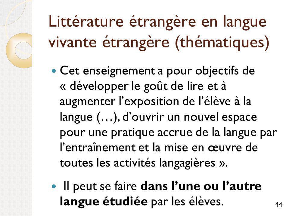 Littérature étrangère en langue vivante étrangère (thématiques)