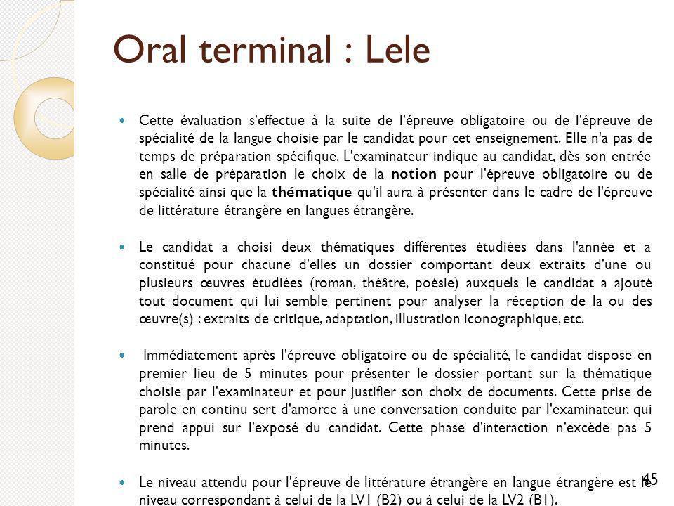 Oral terminal : Lele