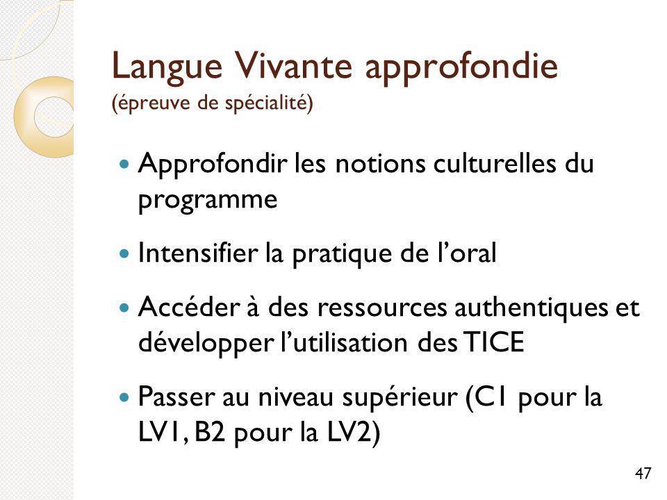 Langue Vivante approfondie (épreuve de spécialité)