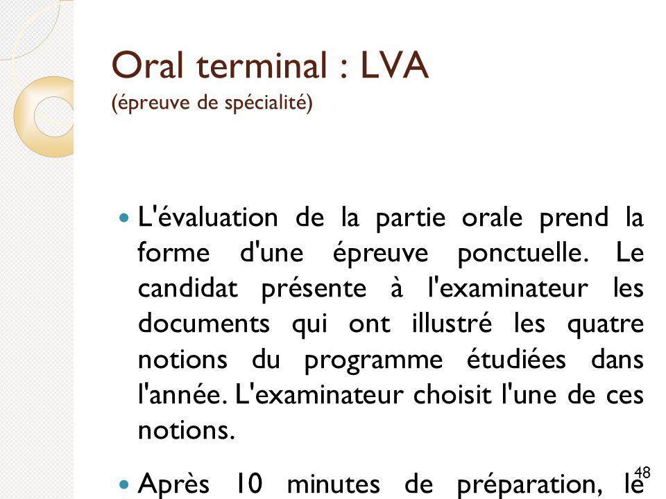 Oral terminal : LVA (épreuve de spécialité)