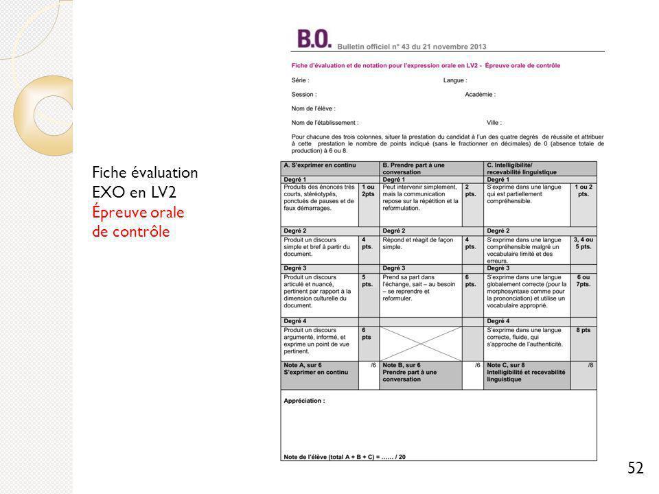Fiche évaluation EXO en LV2