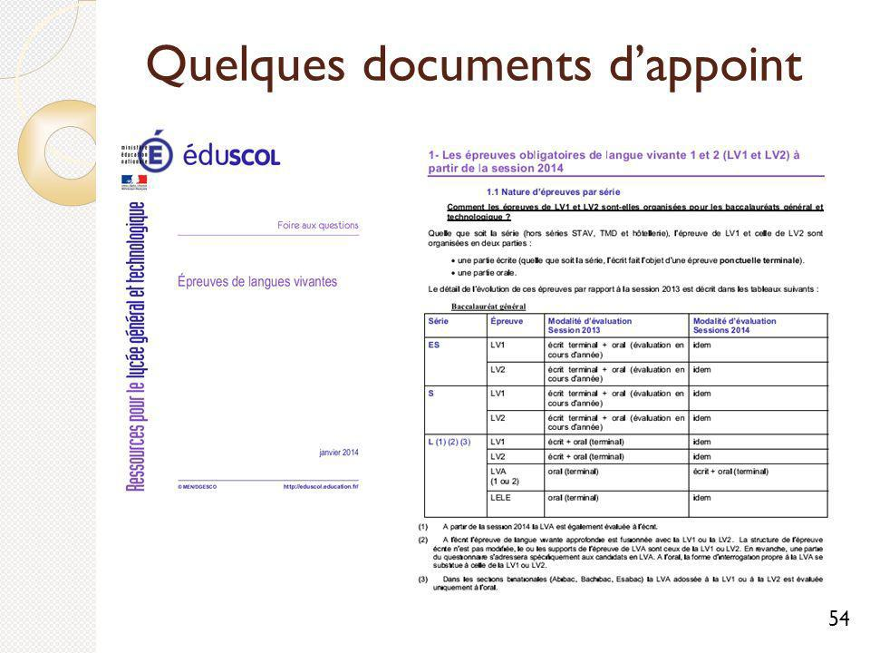 Quelques documents d'appoint