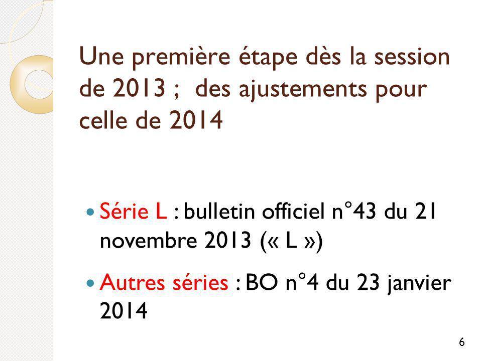 Une première étape dès la session de 2013 ; des ajustements pour celle de 2014