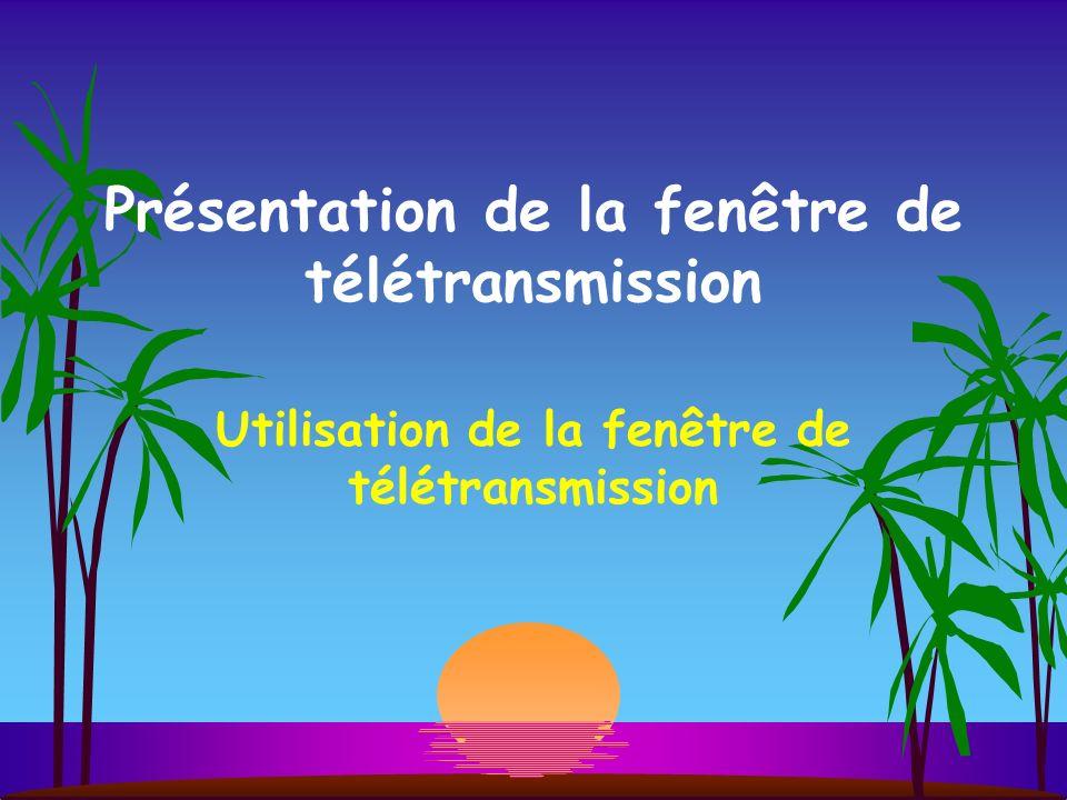 Présentation de la fenêtre de télétransmission