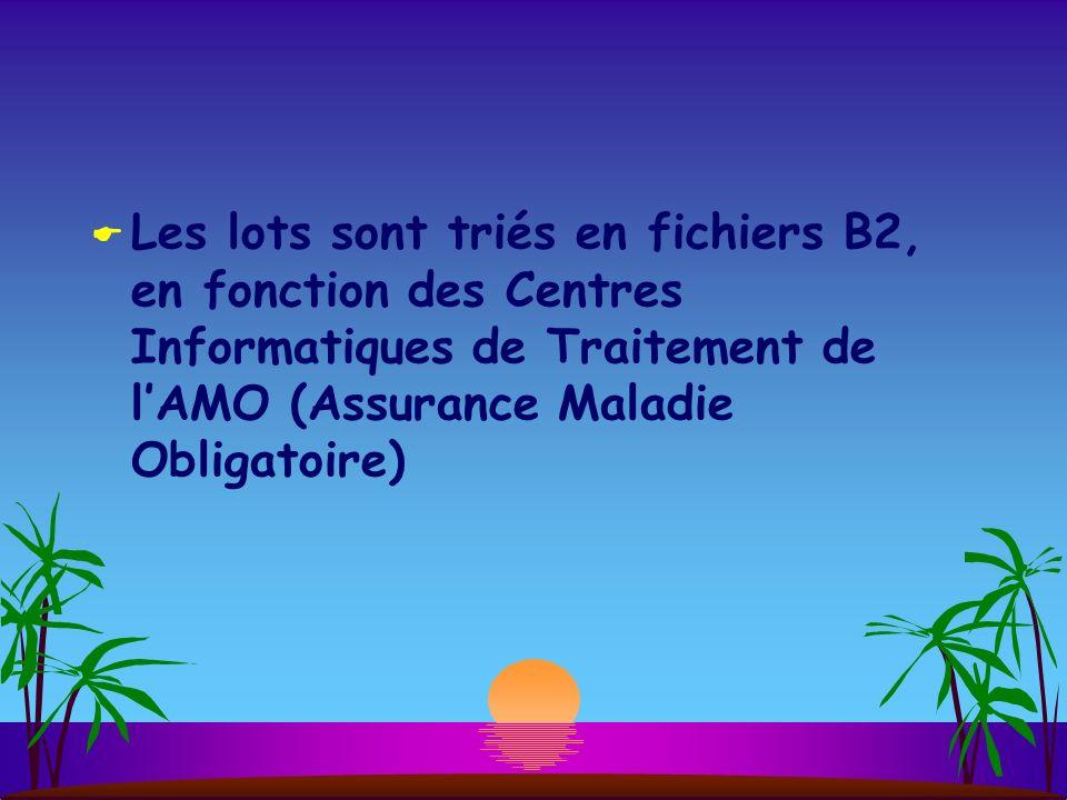 Les lots sont triés en fichiers B2, en fonction des Centres Informatiques de Traitement de l'AMO (Assurance Maladie Obligatoire)