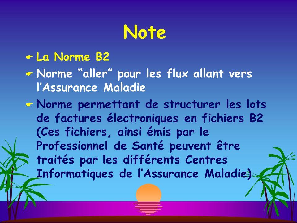 Note La Norme B2. Norme aller pour les flux allant vers l'Assurance Maladie.
