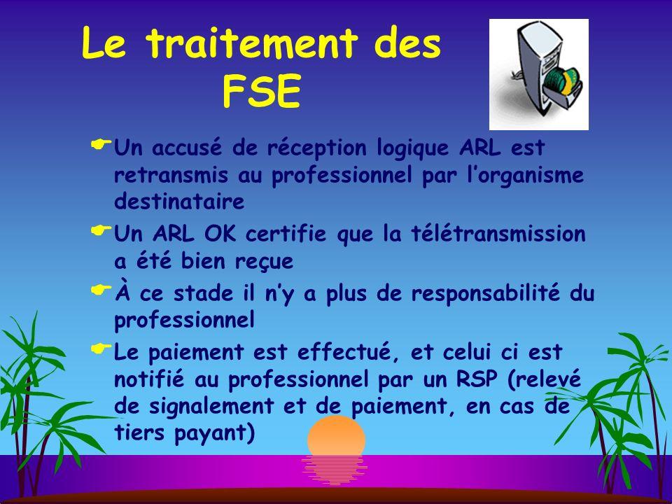 Le traitement des FSE Un accusé de réception logique ARL est retransmis au professionnel par l'organisme destinataire.