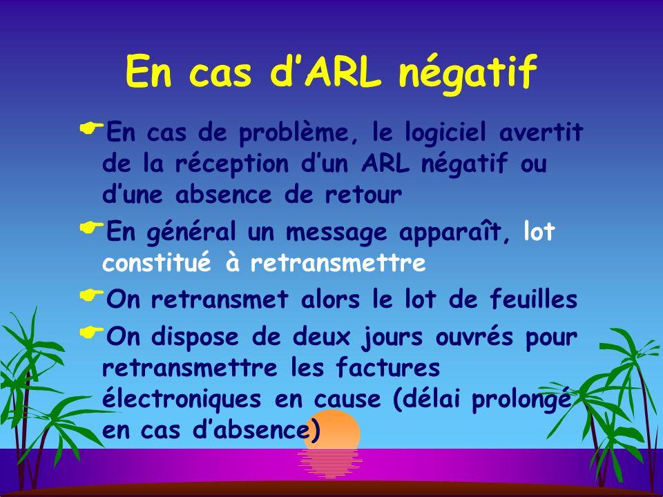 En cas d'ARL négatif En cas de problème, le logiciel avertit de la réception d'un ARL négatif ou d'une absence de retour.