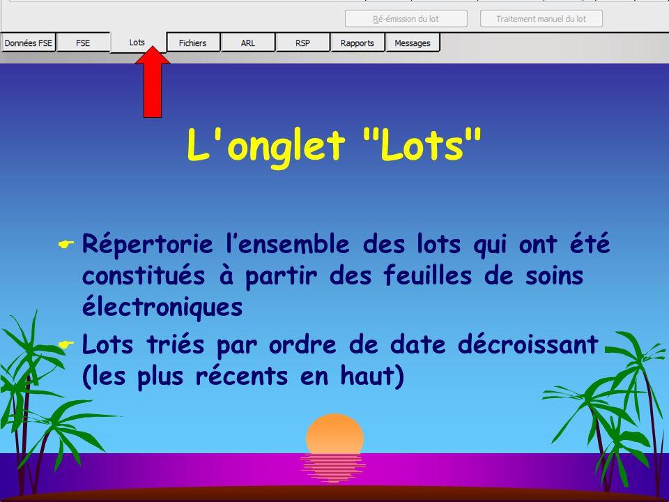 L onglet Lots Répertorie l'ensemble des lots qui ont été constitués à partir des feuilles de soins électroniques.
