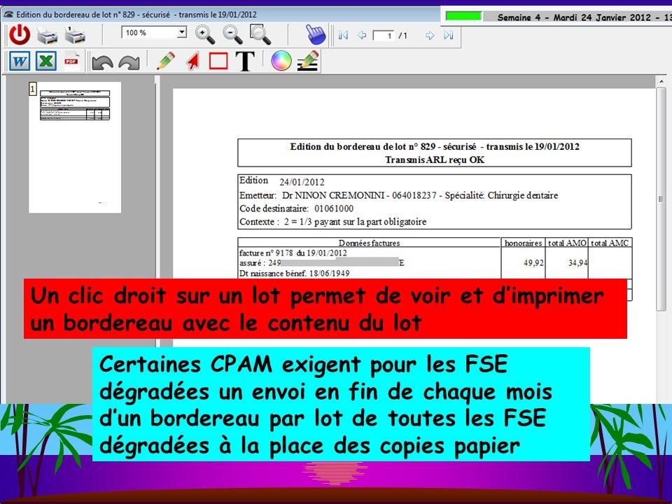 Un clic droit sur un lot permet de voir et d'imprimer un bordereau avec le contenu du lot
