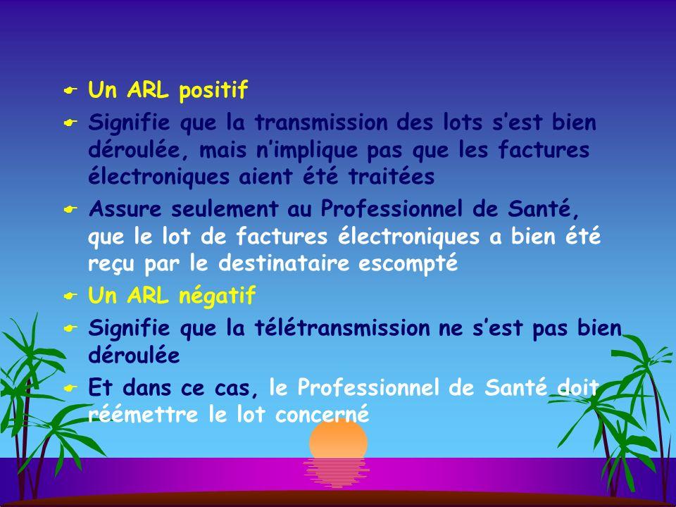 Un ARL positif Signifie que la transmission des lots s'est bien déroulée, mais n'implique pas que les factures électroniques aient été traitées.