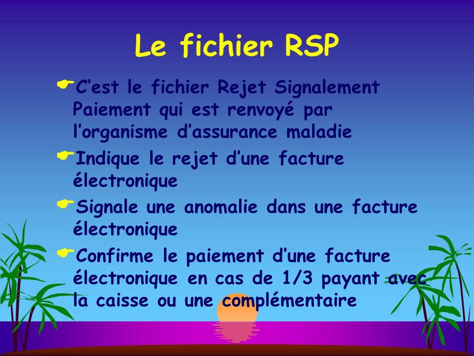 Le fichier RSP C'est le fichier Rejet Signalement Paiement qui est renvoyé par l'organisme d'assurance maladie.