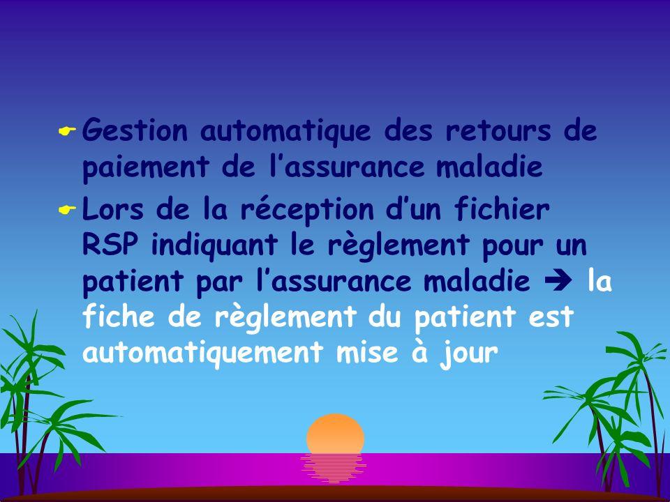 Gestion automatique des retours de paiement de l'assurance maladie