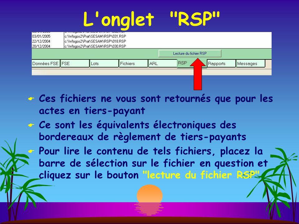 L onglet RSP Ces fichiers ne vous sont retournés que pour les actes en tiers-payant.