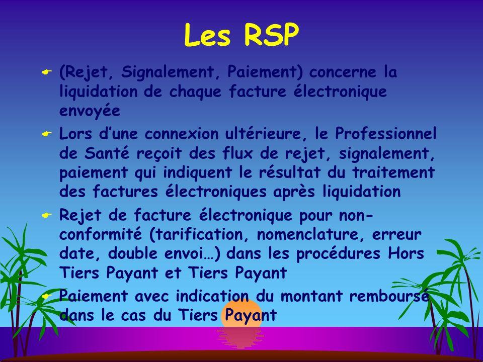 Les RSP (Rejet, Signalement, Paiement) concerne la liquidation de chaque facture électronique envoyée.
