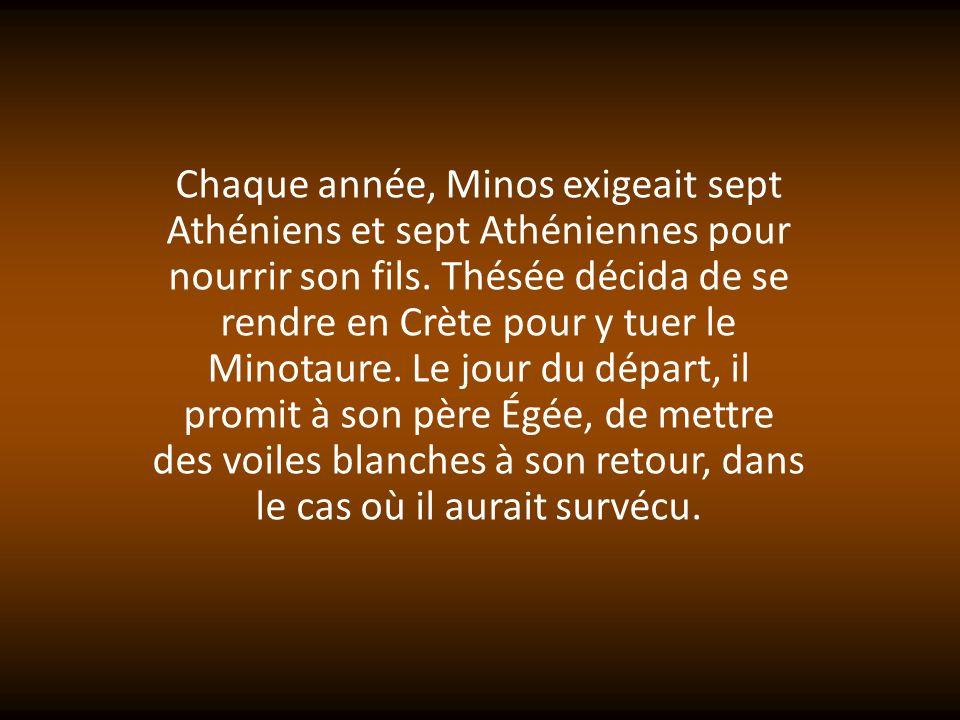 Chaque année, Minos exigeait sept Athéniens et sept Athéniennes pour nourrir son fils.