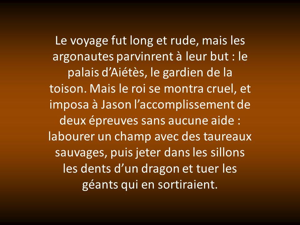 Le voyage fut long et rude, mais les argonautes parvinrent à leur but : le palais d'Aiétès, le gardien de la toison.