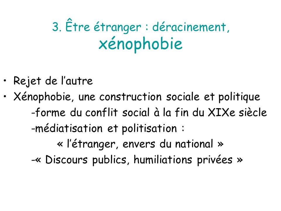 3. Être étranger : déracinement, xénophobie