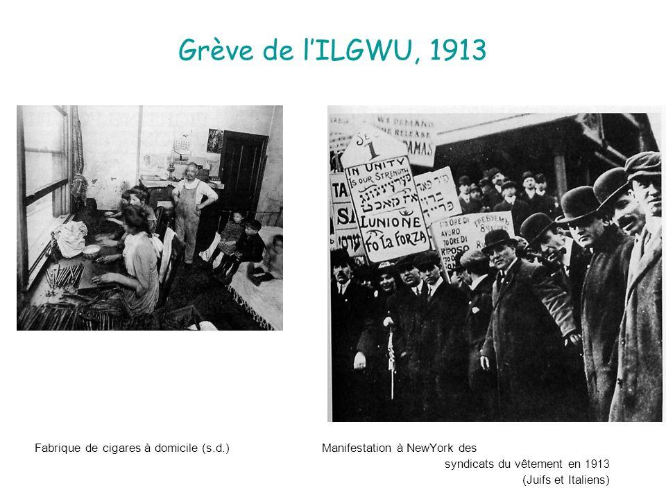 Grève de l'ILGWU, 1913 Fabrique de cigares à domicile (s.d.) Manifestation à NewYork des.