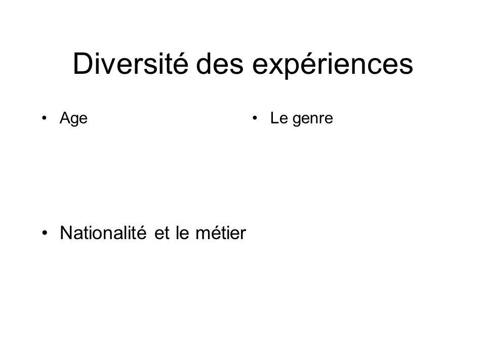 Diversité des expériences