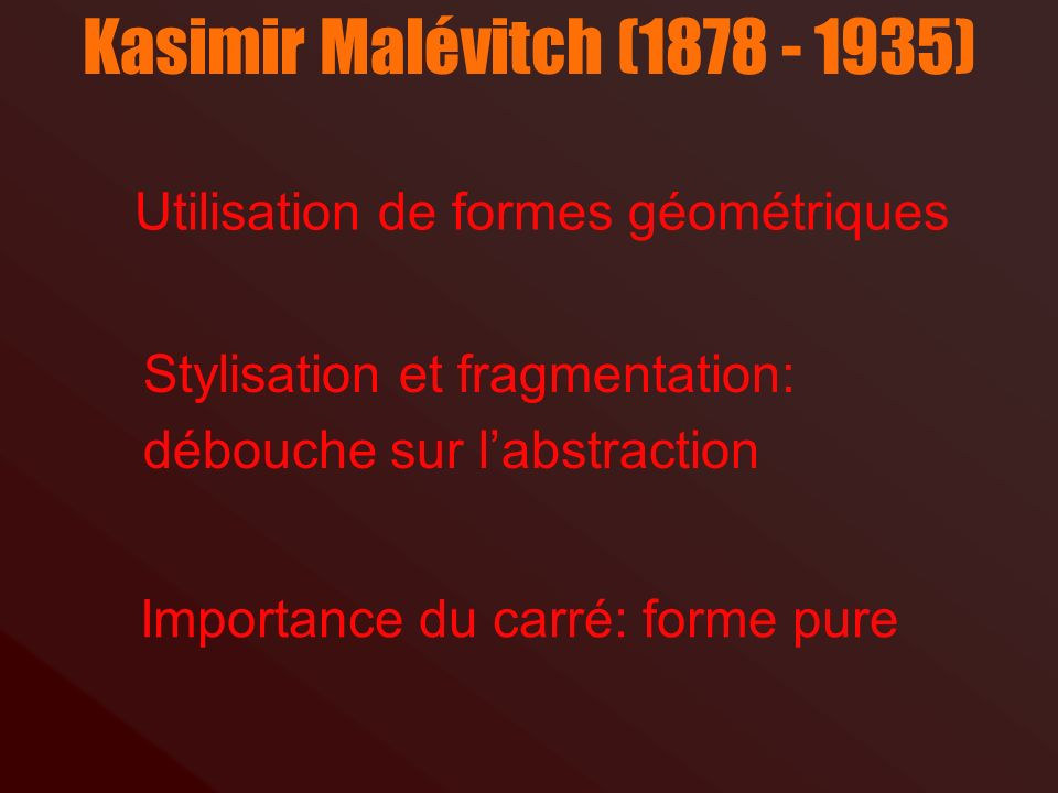 Kasimir Malévitch (1878 - 1935) Utilisation de formes géométriques