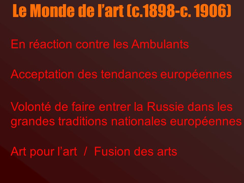 Le Monde de l'art (c.1898-c. 1906) En réaction contre les Ambulants