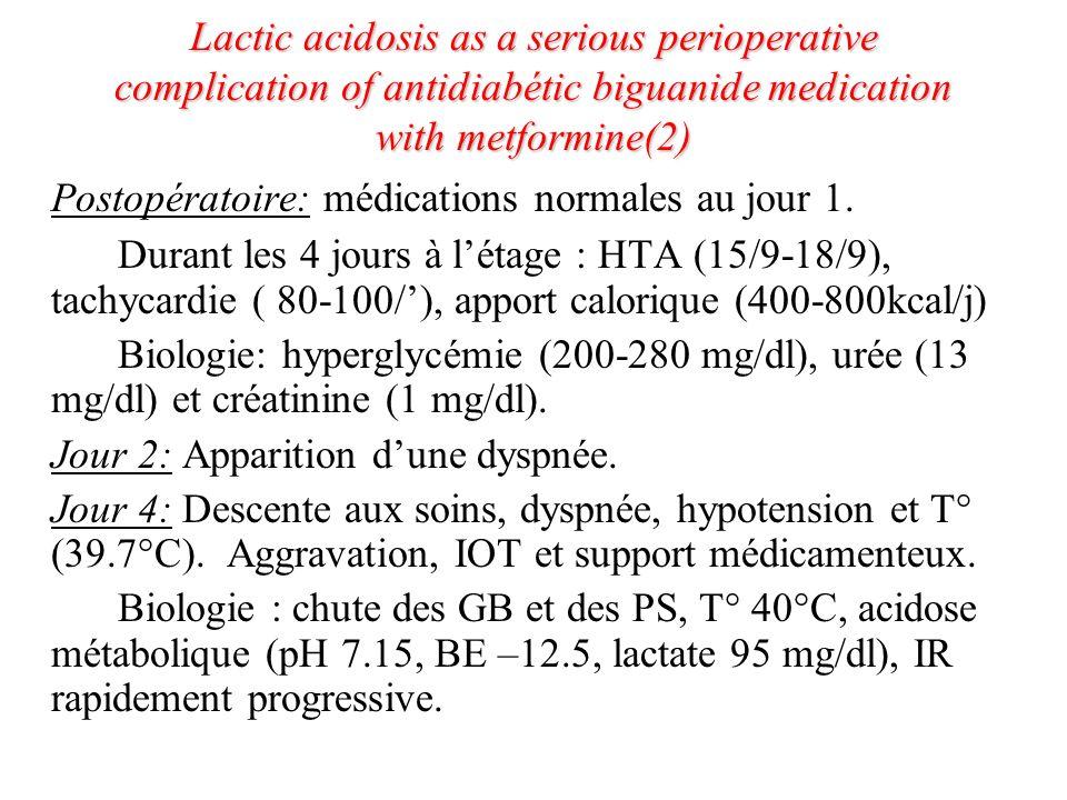 Postopératoire: médications normales au jour 1.
