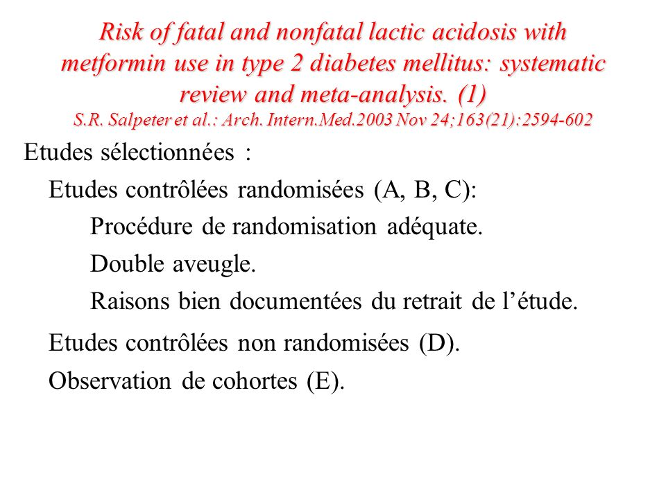 Etudes contrôlées non randomisées (D).