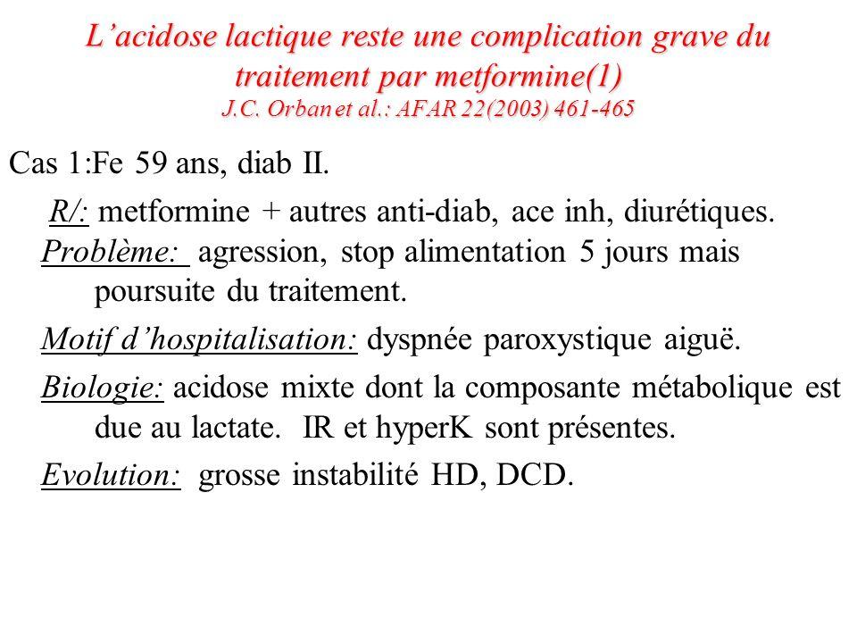 L'acidose lactique reste une complication grave du traitement par metformine(1) J.C. Orban et al.: AFAR 22(2003) 461-465
