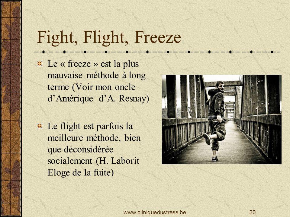 Fight, Flight, Freeze Le « freeze » est la plus mauvaise méthode à long terme (Voir mon oncle d'Amérique d'A. Resnay)