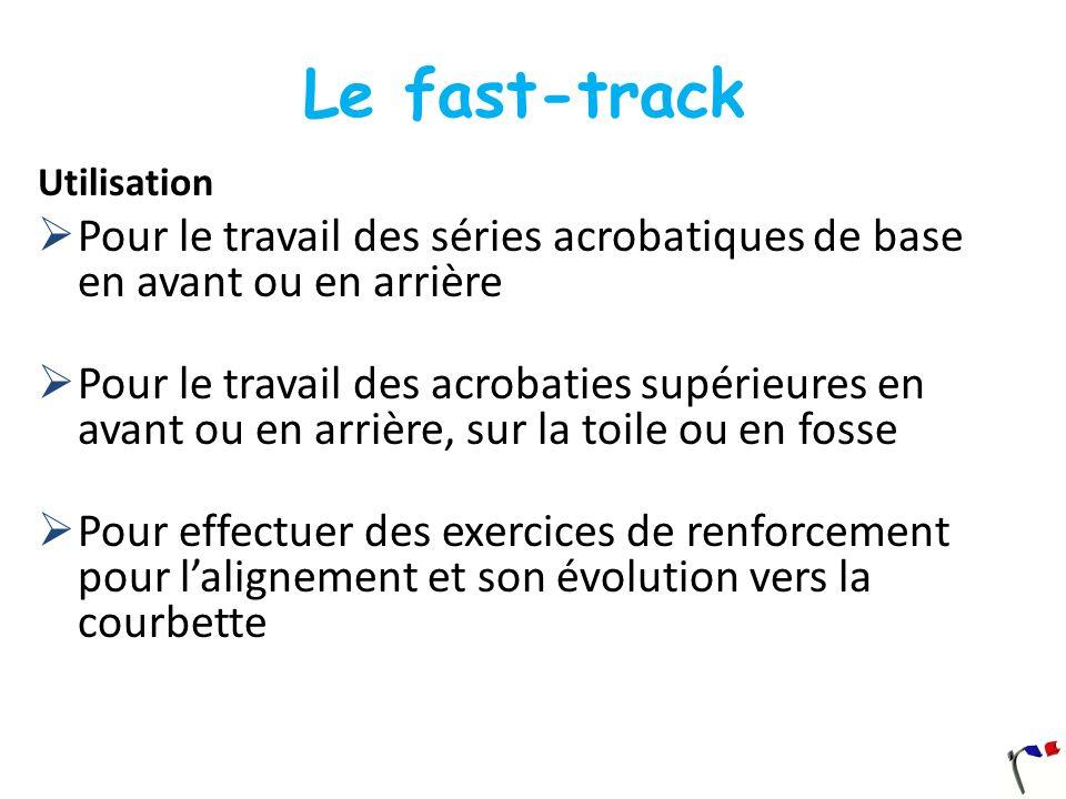 Le fast-track Utilisation. Pour le travail des séries acrobatiques de base en avant ou en arrière.