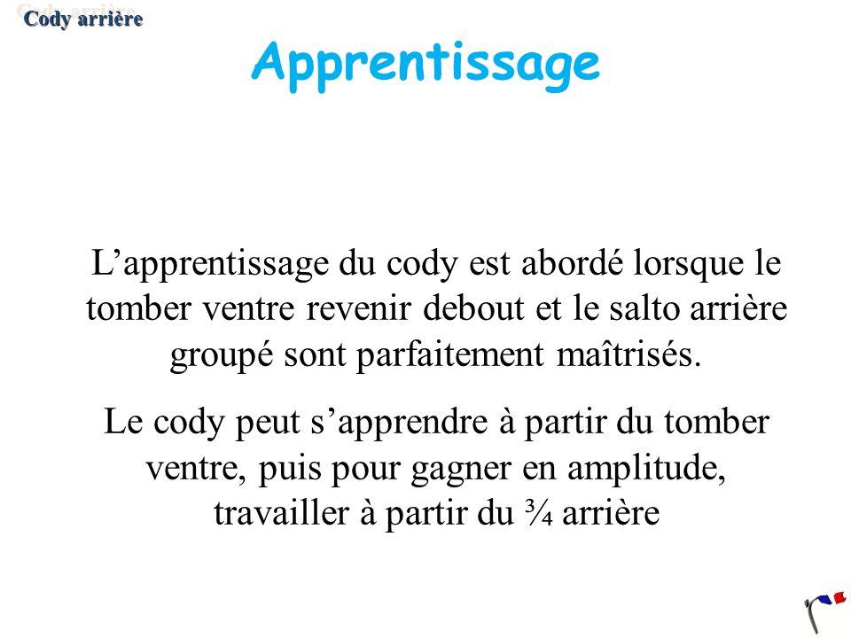 Cody arrière Apprentissage.