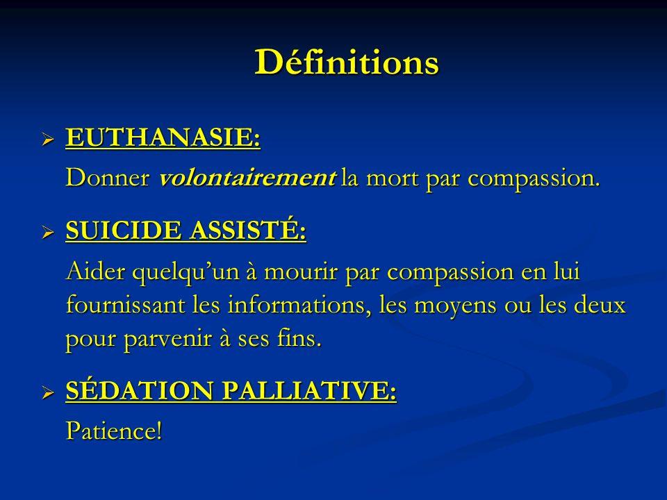 Définitions EUTHANASIE: Donner volontairement la mort par compassion.