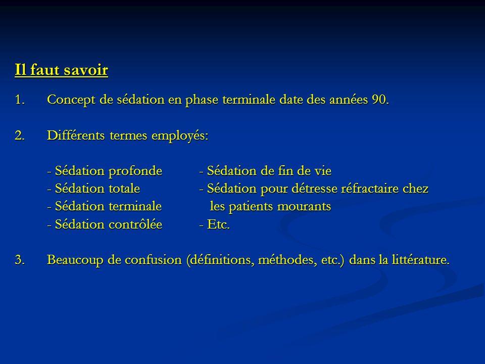 Il faut savoir 1. Concept de sédation en phase terminale date des années 90. 2. Différents termes employés: