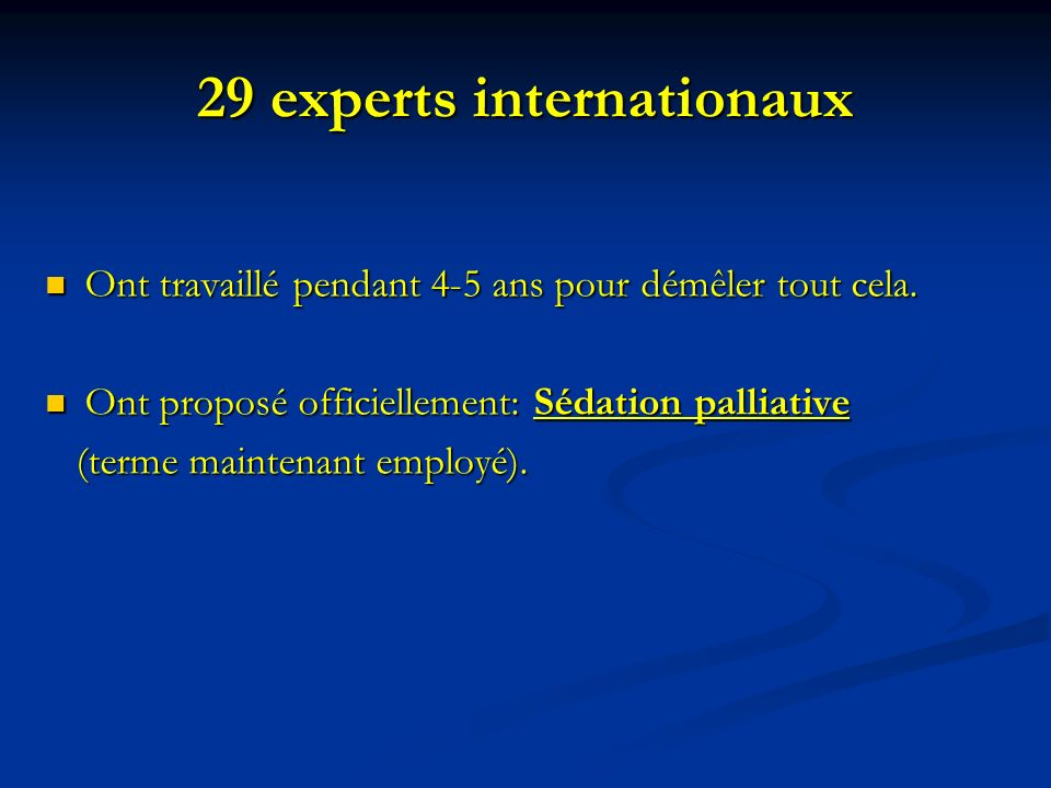 29 experts internationaux