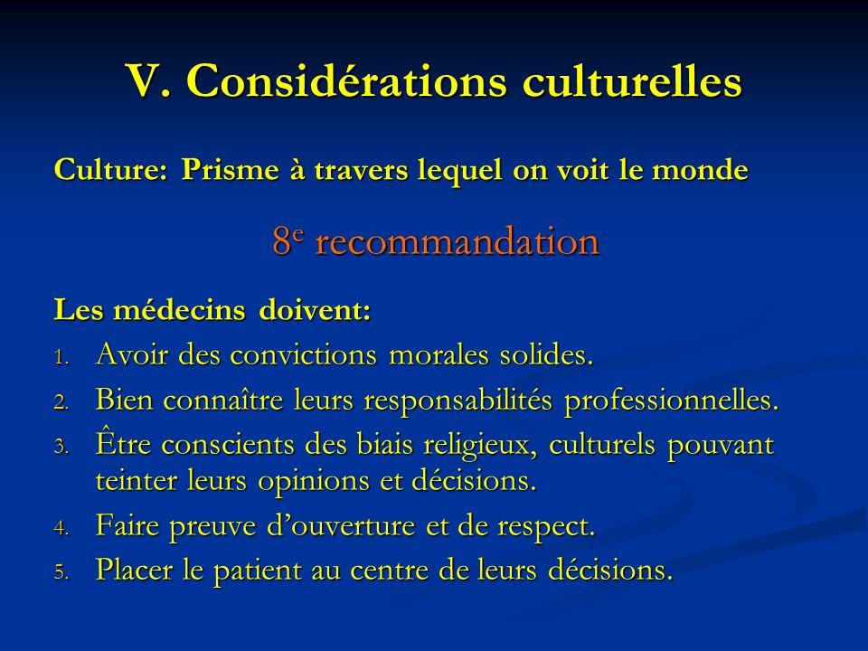 Considérations culturelles