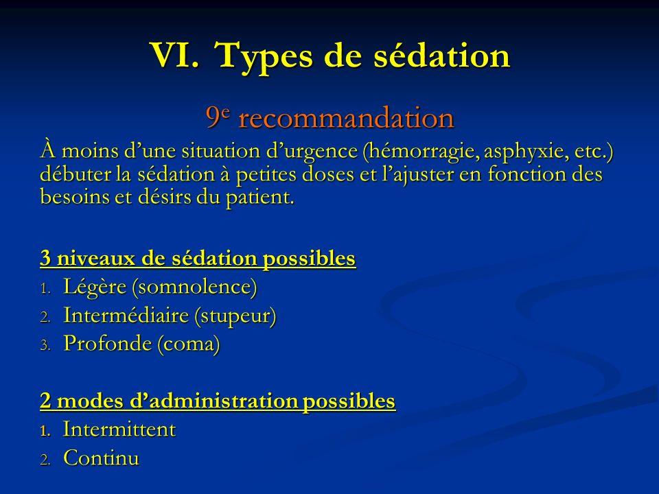 Types de sédation 9e recommandation