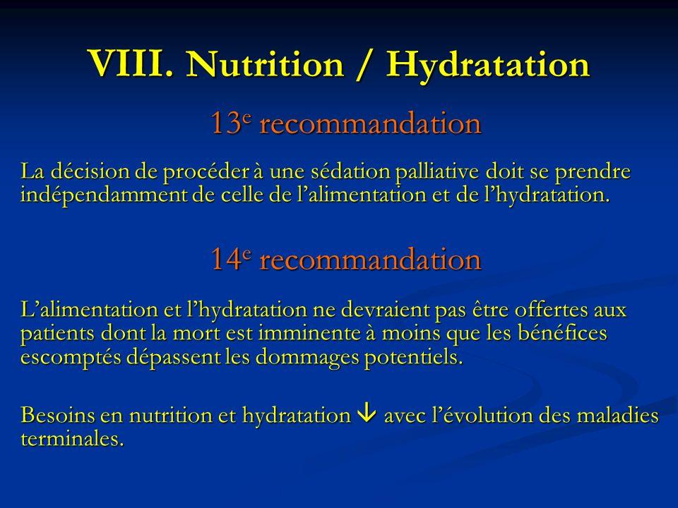 Nutrition / Hydratation