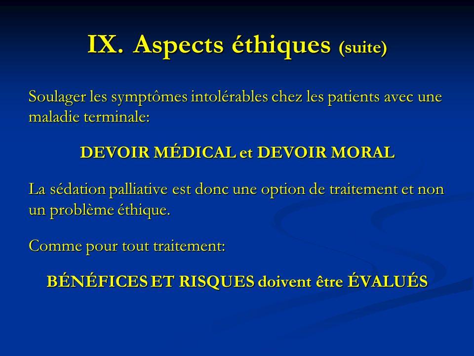 Aspects éthiques (suite)