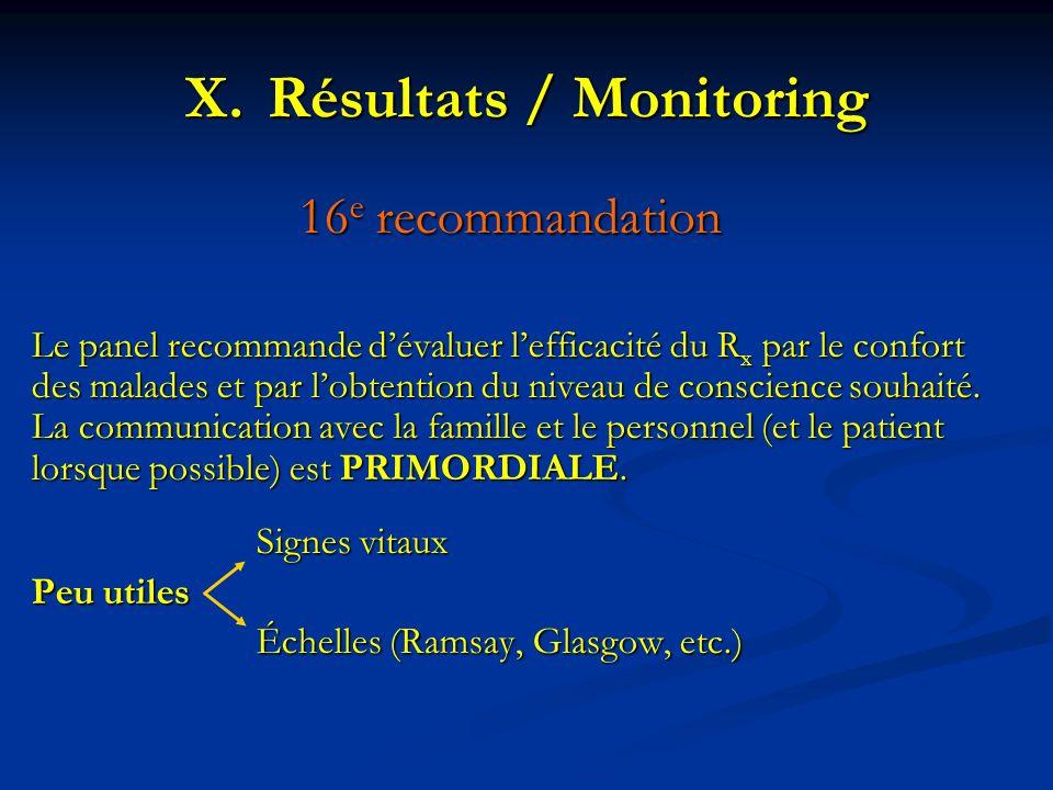 Résultats / Monitoring