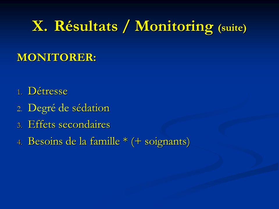 Résultats / Monitoring (suite)