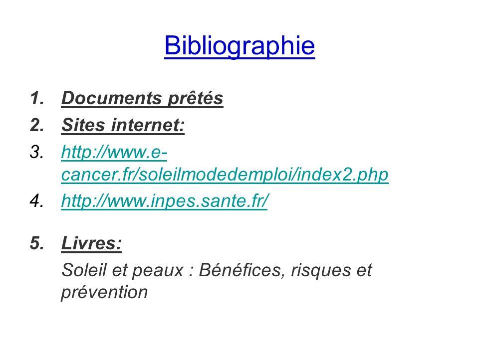 Bibliographie Documents prêtés Sites internet: