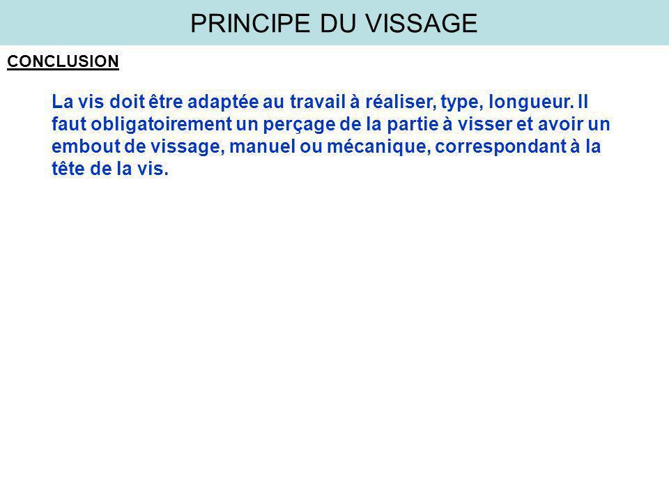 PRINCIPE DU VISSAGE CONCLUSION.