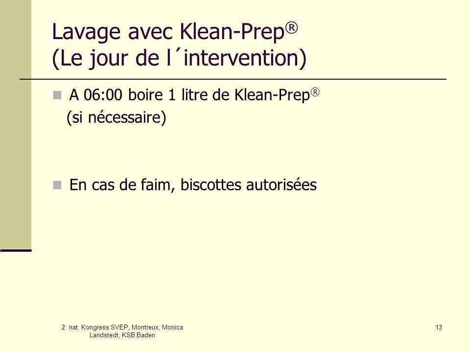 Lavage avec Klean-Prep® (Le jour de l´intervention)