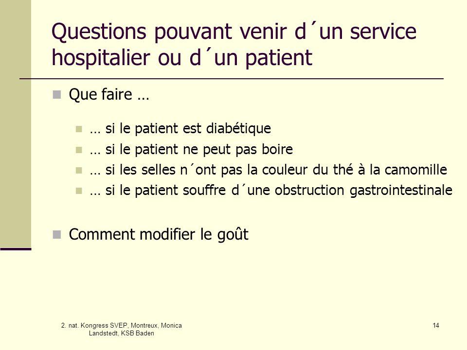 Questions pouvant venir d´un service hospitalier ou d´un patient