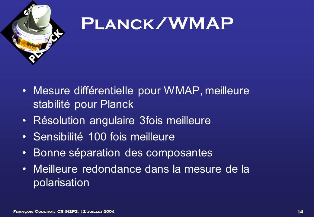 Planck/WMAP Mesure différentielle pour WMAP, meilleure stabilité pour Planck. Résolution angulaire 3fois meilleure.